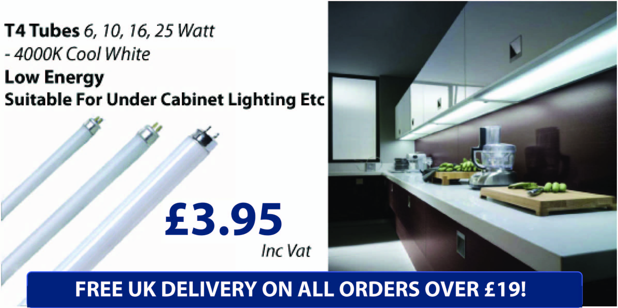 T4 Fluorescent Tubes, LED, Incandescent Special Offer Only £3.95 at BulbsTubes